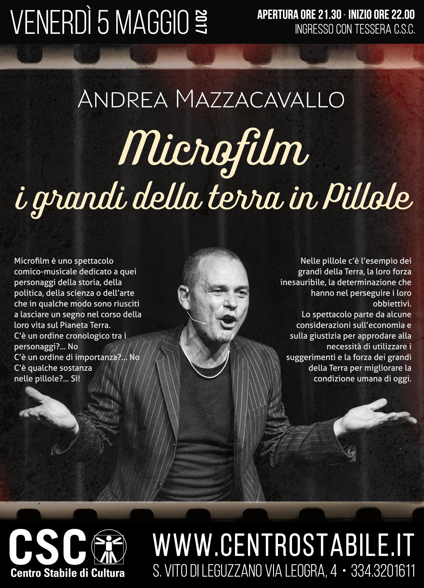 Andrea Mazzacavallo – Microfilm: I grandi della terra in pillole